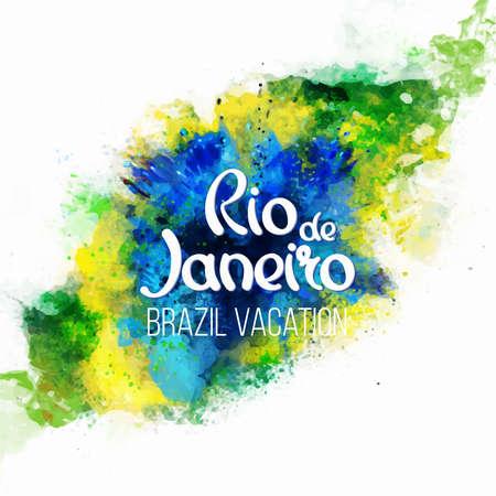 bandera: Inscripción Río de Janeiro Brasil vacaciones en una manchas de fondo de la acuarela, colores de la bandera brasileña, Brasil Carnaval, pinturas de acuarela. Verano, color de la tinta.