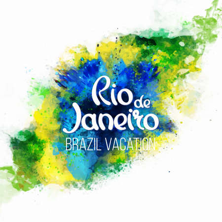 green flag: Inscription Rio de Janeiro Brazil vacation on a background watercolor stains,colors of the Brazilian flag, Brazil Carnival,watercolor paints. Summer, ink color.
