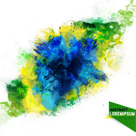 Vector abstraction from a mixture of colors, brazil concept, blue, green,yellow ink, color spray, fly away, stains with a spray of water colors. Isolate on white 2016