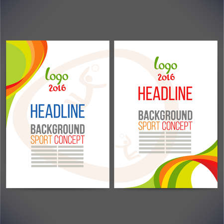 gambol: Abstract vector template design, brochure, Web sites, page, leaflet, with colored lines and waves, logo and text separately. Sport concept banners.2016 Illustration