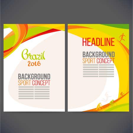 deporte: Resumen de diseño de plantilla vector, folleto, sitios Web, página, folleto, con líneas de color y las olas, el logotipo y el texto por separado. Concepto de deporte de banners.2016