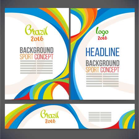 別に、ベクトル テンプレート デザイン、パンフレット、Web サイト、ページ、リーフレット、色付きの線と波、ロゴやテキストを抽象化します。ス