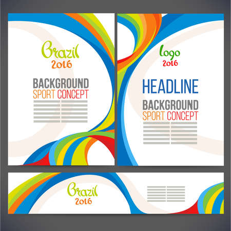 Abstract vector template design, brochure, Web sites, page, leaflet, with colored lines and waves, logo and text separately. Sport concept banners.2016 일러스트
