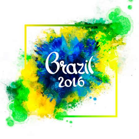Inscriptie Brazilië 2016 op de achtergrond aquarel vlekken, de kleuren van de Braziliaanse vlag, Brazilië Carnaval, aquarel verf. Zomervakantie, inkt kleur.