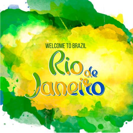 Opschrift Rio de Janeiro Brazilië vakantie op een achtergrond aquarel vlekken, de kleuren van de Braziliaanse vlag, Brazilië Carnaval, aquarel verf. Zomer, inkt kleur. Stock Illustratie