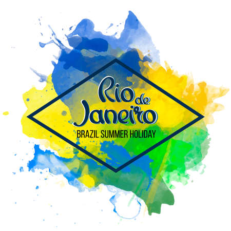brazilian flag: Inscription Rio de Janeiro on a background watercolor stains, colors green, yellow, Brazil Carnival,watercolor paints. Summer, ink color