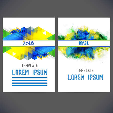 Abstract vector template design on a background watercolor stains,colors of the Brazilian flag, brochure, Web sites, page, leaflet, with colorful geometric triangular backgrounds, text separately.
