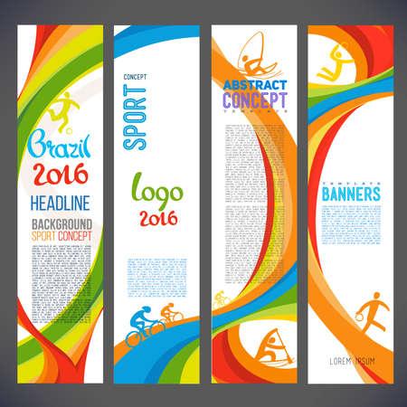 Abstract vector template design, brochure, websites, pagina, folder, met gekleurde lijnen en golven, logo en tekst apart Sport begrip banners2016 Stock Illustratie