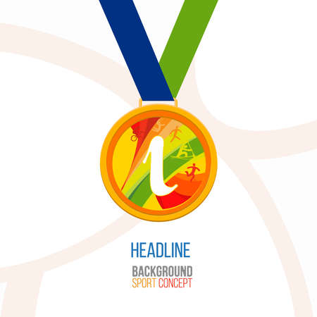 medal: Gold medal icon. Gold medal symbols. Gold medal on a white background. Isolated Gold medal for first place with sport symbols icon.Gold medal flat icon.Medal icon image.Medal icon vector.