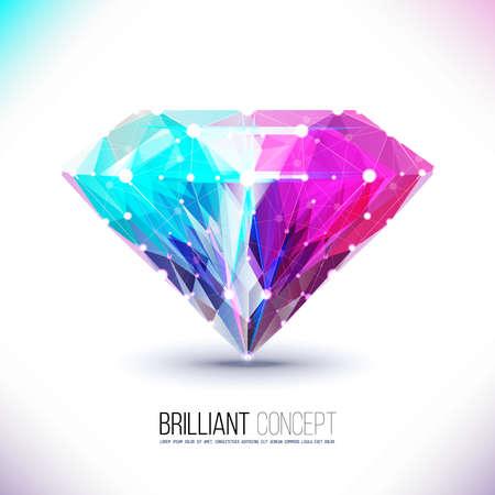 Vector vorm van een gekleurde diamant geïsoleerd op een witte achtergrond. Moleculaire zeven, diamantvormig, geometrisch patroon in de vorm van een driehoek vormen. Briljant, edelsteen. Vector Illustratie