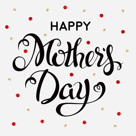 Happy Mothers Day Letteringtypographical Design Isolate Symbols