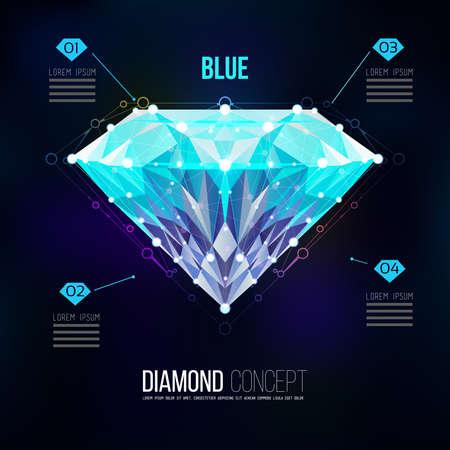 ブルー ダイヤモンド。黒い背景に分離した鮮やかな青色のベクトル形状。分子ふるい、三角形の形でダイヤモンドの形の幾何学的なパターン。ダイ