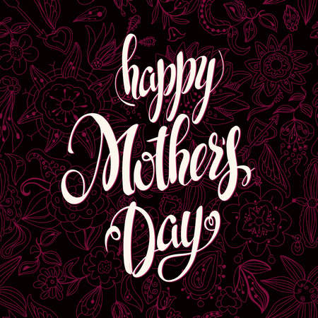 mother day: Happy Mothers Day Lettering,Typographical Design With Seamless Backgrounds of Flowers. Isolate Symbols. Mothers Day Signs. Text Design.Vector illustration