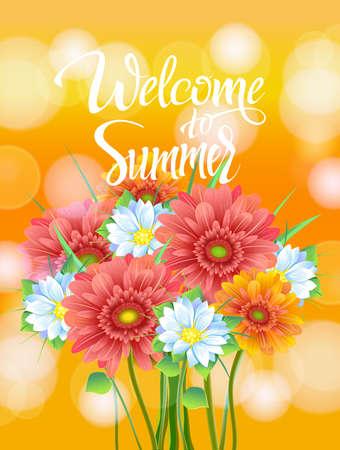 Bienvenue à Summer Lettrage, affiche, la publicité de fleurs de printemps Gerber. Bouquet d'été de fleurs sur fond jaune. Isoler signe et flowers.Vector illustration Vecteurs