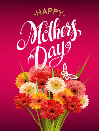 love mom: Mothers Day Lettering, poster, advertising of spring flowers Gerber. Summer bouquet of flowers on red background. Isolate sign and flowers.Vector illustration