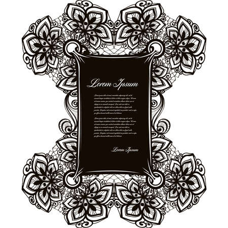 infinitely: Abstract arabic lace pattern with flowers and place for text, Infinitely wallpaper,decoration design, lingerie and jewelry banners Invitation cards,wallpaper tile ornament Lace banner Lace pattern