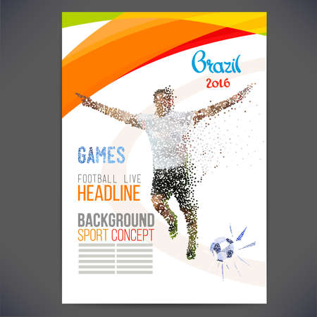 game show: Concept of soccer player with ? colored dots assembled in figure football. Concept flyer 2016. Brazil  football game. Isolate vector.