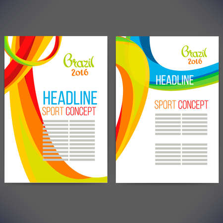 polygraph: Abstract vector template design with colored lines and waves. Concept brochure, Web sites, page, leaflet, logo and text separately. Sport concept banners.Sign brazil 2016. Illustration
