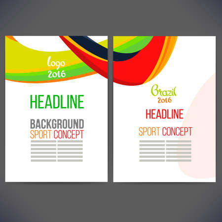 gambol: Abstract vector template design with colored lines and waves. Concept brochure, Web sites, page, leaflet, logo and text separately. Sport concept banners.Sign brazil 2016. Illustration
