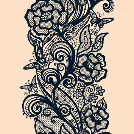 infinitely: Abstract seamless lace pattern with flowers and butterflies. Infinitely wallpaper, decoration design, lingerie and jewelry. Invitation cards,wallpaper tile ornament.