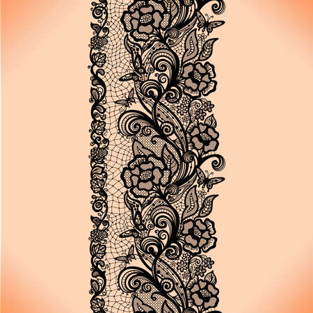 花と蝶抽象的なシームレスなレース パターン。無限の壁紙、デザイン、ランジェリー、ジュエリーの飾り。あなたの招待状は、壁紙  イラスト・ベクター素材