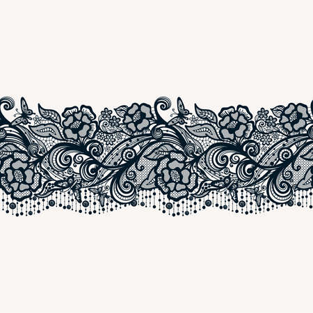 trims: Abstract seamless lace pattern with flowers and butterflies. Infinitely wallpaper, decoration for your design, lingerie and jewelry. Your invitation cards, wallpaper