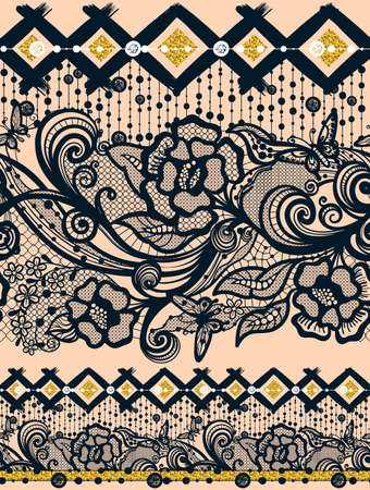infinitely: Two Abstract Seamless Lace flowers Pattern With Butterflies. Infinitely wallpaper, decoration for your design, lingerie and jewelry. Your invitation cards, stamping wallpaper Illustration