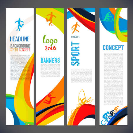 gambol: Vector template design Brochure,Flyer,Layout template,Web sites, page, leaflet with colored lines and waves.logo and text separately. Sport concept symbols.Sign Brazil 2016. info-graphics.Banners