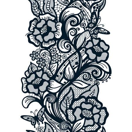 花と蝶抽象的なシームレスなレース パターン。無限の壁紙、装飾デザイン、ランジェリー、ジュエリー。招待状、壁紙タイル飾り。
