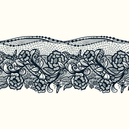 lace pattern: Abstract seamless lace pattern with flowers and butterflies. Infinitely wallpaper, decoration design, lingerie and jewelry. Invitation cards,wallpaper tile ornament.