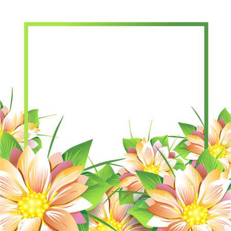 夏花のヒナギクと白い背景のアスターの花束。夏、春の概念 Design.Isolate 白地。ベクトル図