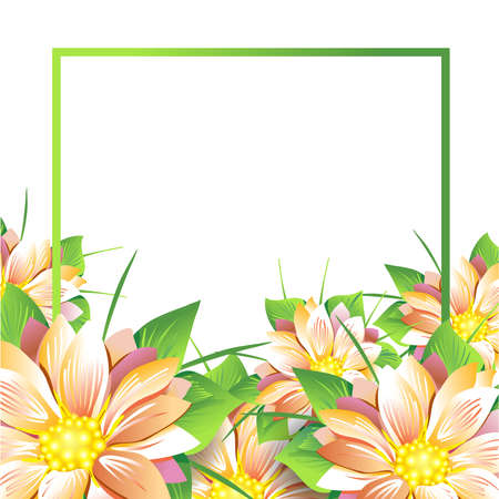 yellow vector: Summer bouquet of flowers daisies and asters on white background. Summer, spring concept Design.Isolate on white.Vector illustration
