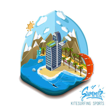 kite surfing: Part of the land, sea and mountains, palm trees and a yacht, paradise, summer vacation, sea, ocean, on the beach. Summer trip, summer island Vector flat isometric 3D concept. Summer kite surfing sport
