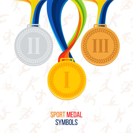 bronze medal: Vector Gold medal, silver medal, bronze medal against the background of sports icons, set of medals. a symbol of victory. Sports awards