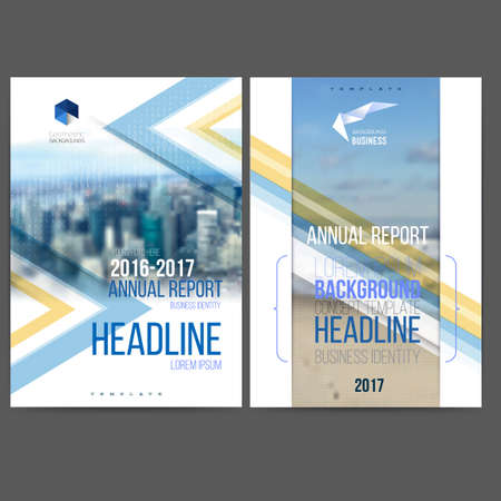 template design annual report 2017, layout with colorful cityscape, space for  text. mesh technology with  blurred concept. Isolate on white.