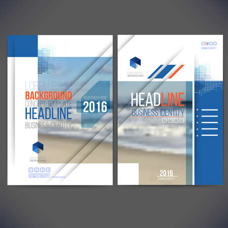 template design annual report 2016, layout with colorful ocean picture, space for  text. Isolate on white. Design for Brochure, web sites, page, leaflet cover  and presentation.
