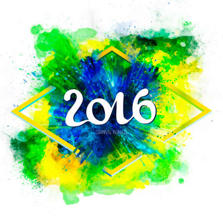 Signs, symbols inscription 2016 on a ink explosion background watercolor stains, green, blue, yellow colors of the Brazilian flag, Carnival coloring, watercolor paints. Isolate on white.