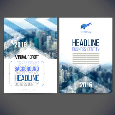 template design annual report 2016, layout with colorful cityscape, space for  text.Design for Brochure, web sites, page, leaflet cover presentation, abstract design for layout 일러스트