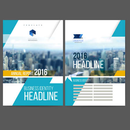 template design annual report 2016, layout with colorful cityscape, space for text. mesh technology with  blurred concept. Isolate on white.