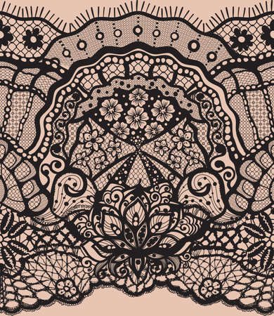 Abstract seamless pattern with lace leaves and flowers pattern. Infinitely floral black ornamental wallpaper, lingerie and jewelry. Lace flower and Lace ornament. Isolate seamless lace. Illustration