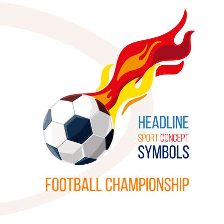 Soccer ball with the image of fire in the background. Football concept isolate on white. Football game character. Symbols ball, sign soccer.