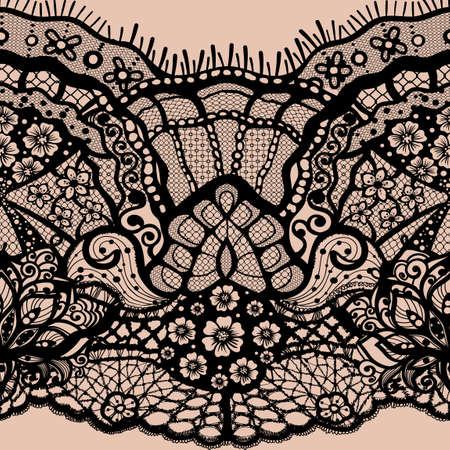 Abstract seamless pattern with lace leaves and flowers pattern. Infinitely floral black ornamental wallpaper, lingerie and jewelry. Lace flower and ornament. Isolate seamless lace.