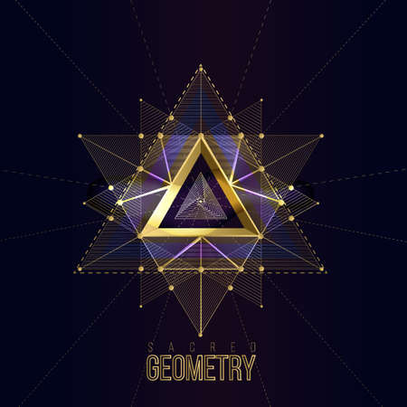 Sacred geometry forms on space background, shapes of gold lines for logo, sign and symbol.Geometry symbolic triangle. Vector isolate gold shapes on dark color.