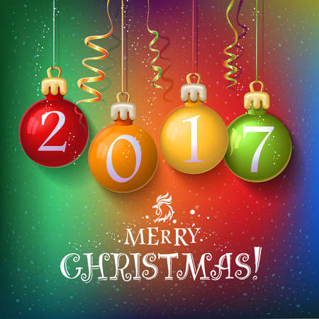 Merry Christmas 2017 decoration poster card. New Year background  with garlands, streamer and snowflakes. Year symbol, the fire cock. Vector design. Christmas balls with numbers