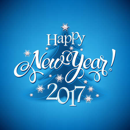 Happy New Year 2017 sign on blue background. Calligraphy text, poster template. Vector 일러스트