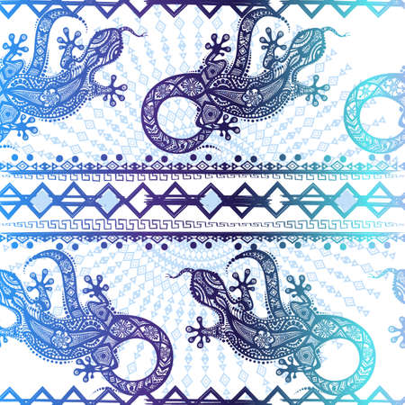 Vector vintage seamless ethnic pattern image lizards and lines, to be applied to any surface, can be used for a textile, coloring book, prints, phone case and card. Australian and Indian ornament 일러스트