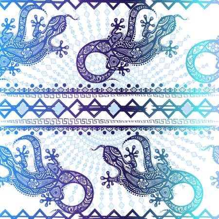 Vector vendimia sin fisuras patrón de lagartos imagen étnicos y líneas, que deben aplicarse a cualquier superficie, puede ser utilizado para un material textil, dibujos, grabados, caja del teléfono y la tarjeta. ornamento de Australia y la India