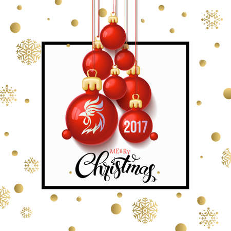texts: Happy New year 2017 decoration poster card and merry Christmas background with  toys collected in the form of a Christmas tree, 2017 Year symbol, the fire cock. Illustration
