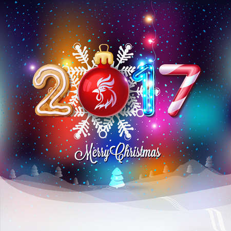 new year eve: Merry Christmas sign 2017 decoration poster card. Happy New Year background and composition on a snowy field with Christmas trees and stars, garlands,candy canes, gingerbread and snowflakes.Vector