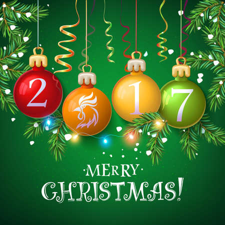 Merry Christmas 2017 decoration poster card. New Year background  with garlands, tree branches, snowflakes. 2017 Year symbol, the fire cock on toy. Vector isolate 일러스트